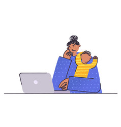 frustrated and stressed woman with kid and vector image