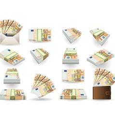 full set fifty euros banknotes vector image