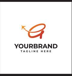 G fly travel company logo business travel logo vector