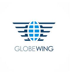 Globe wing emblem logo vector