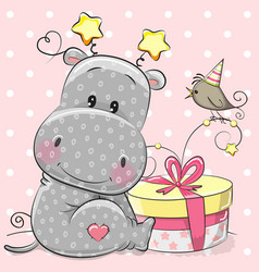 Greeting card cute hippo with gift vector