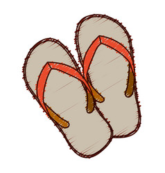 Hand colored drawing of beach flip-flops vector