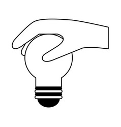 Hand holding regular lightbulb icon image vector