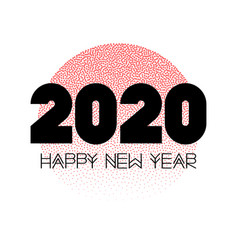 happy 2020 new year card with red circle vector image