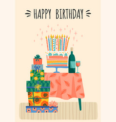 happy birthday cute gift vector image