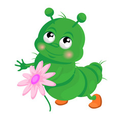 Happy caterpillar vector