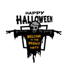 Happy halloween scarecrow with a place for text vector