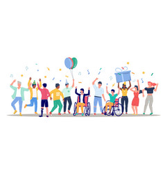 happy people with disabilities dancing and having vector image