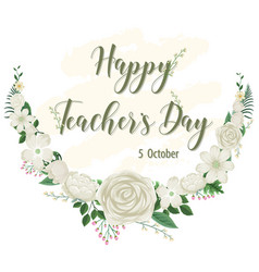 happy teachers day logo with floral theme vector image