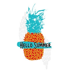 Hello summer design with colorful retro pineapple vector
