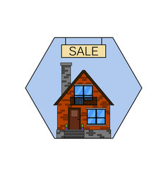 house for sale line icon for web mobile vector image