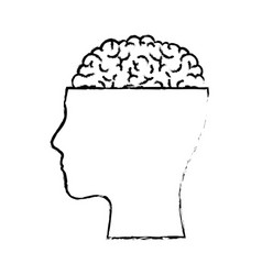 Human face silhouette with brain exposed in black vector