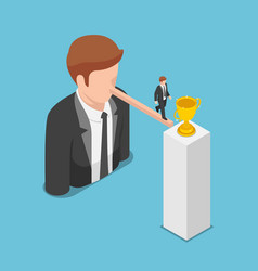 Isometric businessman walking on long nose vector