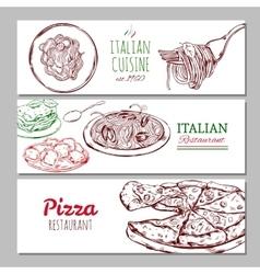 Italian Restaraunt Horizontal Banners vector