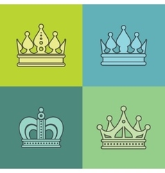Light crown icons on color background vector