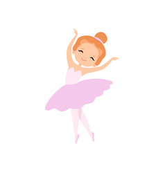 Lovely little ballerina dancing girl ballet vector
