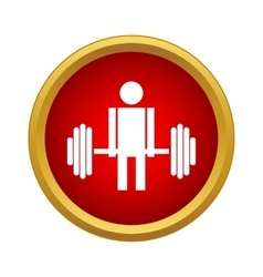 Man with barbell icon in simple style vector