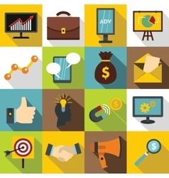 Marketing items icons set flat style vector