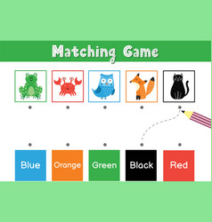 Match animals color educational game vector