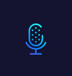 microphone audio recording logo line style vector image