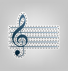 music violin clef sign g-clef blue icon vector image