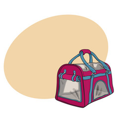 Pet travel fabric carrier bag for transporting vector