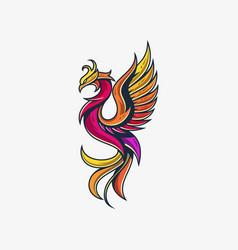 Phoenix line design template vector