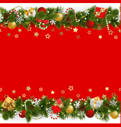 pine christmas background with garland vector image