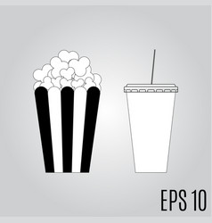 Popcorn and soda icon vector