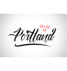Portland city design typography with red heart vector