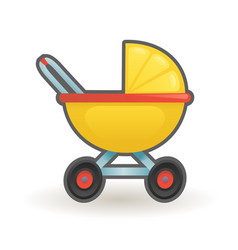 pram baby carriage buggy cartoon design vector image