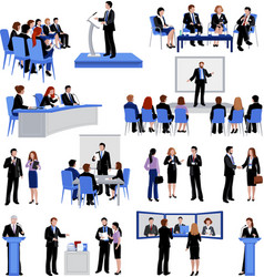 Public speaking people flat icons collection vector