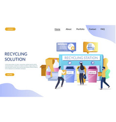 recycling solution website landing page vector image