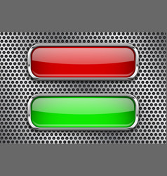 Red and green glass buttons with metal frame on vector