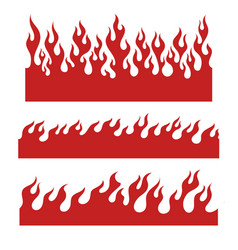 red flame elements for the endless border vector image