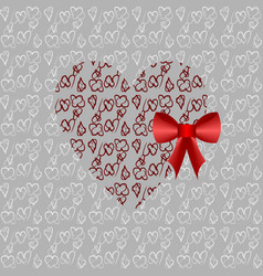 red heart with a red bow vector image