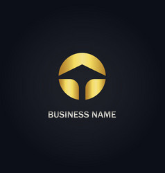 Round arrow up gold logo vector