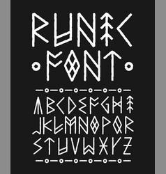 Runic hand drawn font ink brush vector