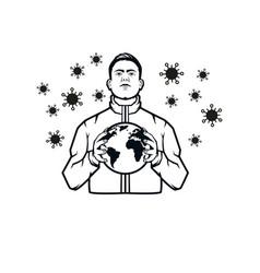 Save world from corona virus vector
