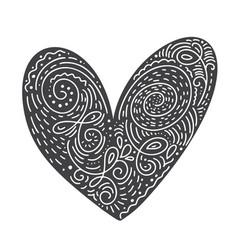 scandinavian folk handwritten heart black vector image