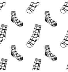 seamless black white pattern of doddle socks for vector image