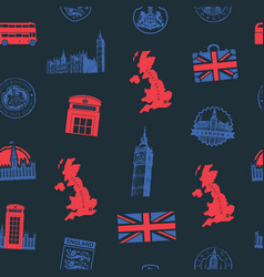 seamless pattern on uk and london theme vector image
