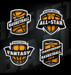 set basketball sports logos vector image