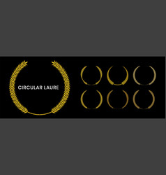 Set gold laurel wreath with a black background vector