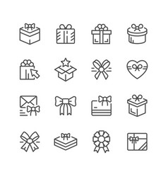 set line icons gift vector image