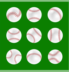 set of baseball balls vector image