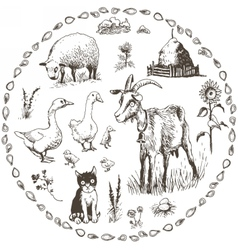 Set of hand drawn farm animals vector