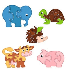 set of isolated puzzles with animals vector image
