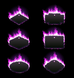 Set of six frames surrounded with purple flame vector