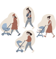 set of various baby strollers baby carrier vector image